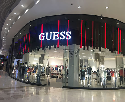 GUESS LED letter in shopping center-using backlighting module